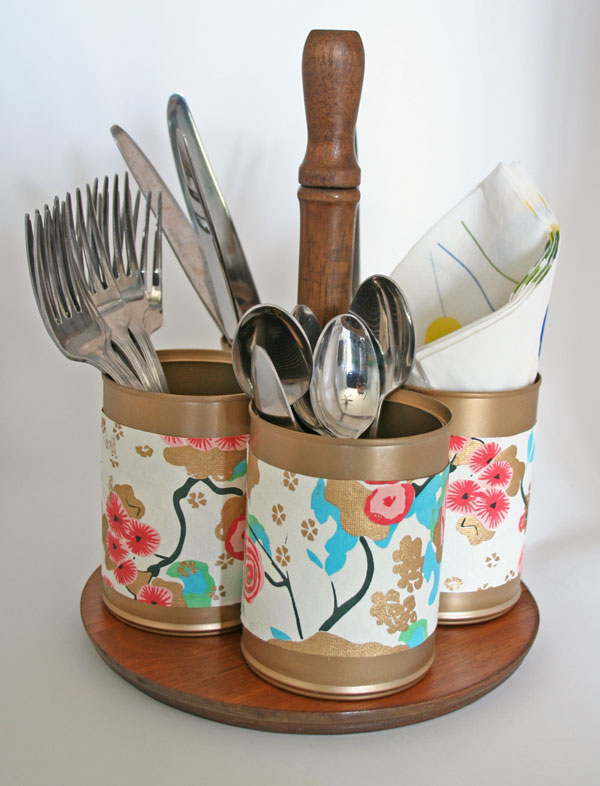 DIY upcycled utensil caddy