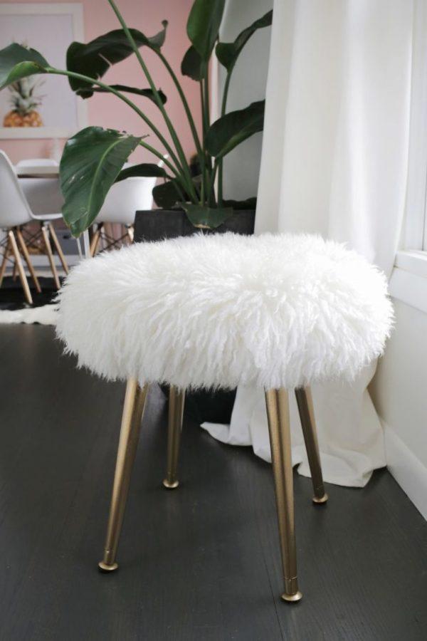DIY faux fur round wooden stool