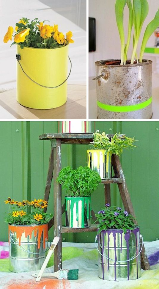 empty paint can planters