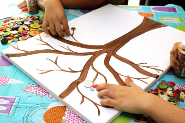 Kids Crafting Button Art