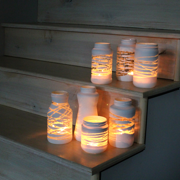 Painted-Yarn-Wrapped-Jars
