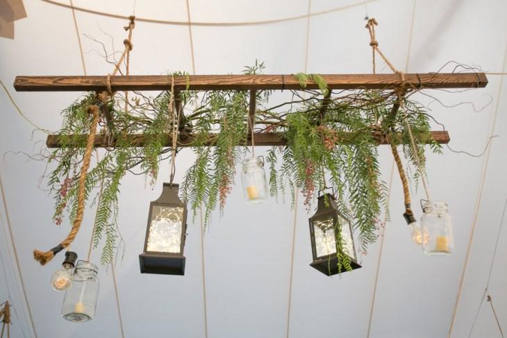 rustic suspended floral ladder