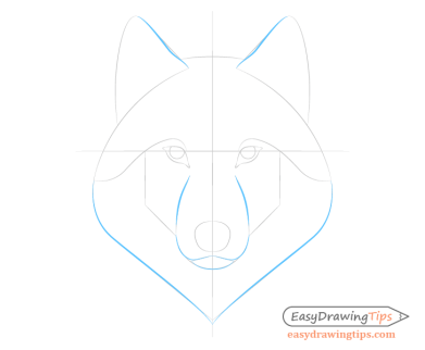 Wolf face shape lines drawing