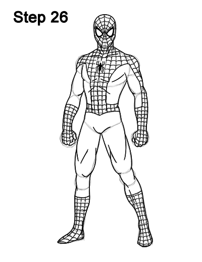 Spider Man Standing Drawing