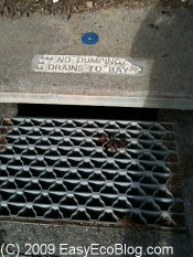 storm drain, drains to the San Francisco bay