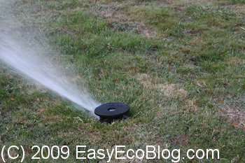 water sprinkler, watering grass, reduce grass water use
