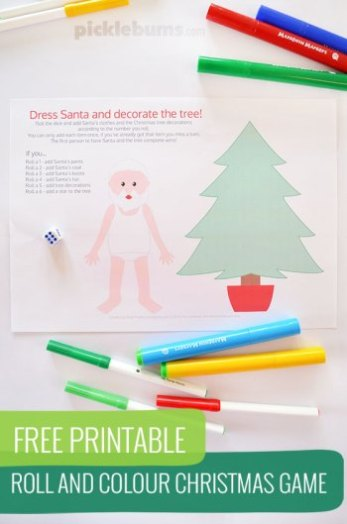 Looking for Free printable Santa-themed games and activities? Perfect for home and classroom! || Free Printable Roll and Colour Christmas Game - Picklebum || Santa Printables: 10 Fun Games and Activities! || Letters from Santa Holiday Blogfree-printable-roll-and-colour-santa-game-letters-from-santa-blog