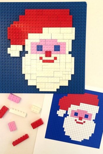 Looking for awesome Free Printable Santa games and activities? Santa Printable Lego Mosaic Pattern - Childhood 101 || Santa Printables: 10 Fun Games and Activities! || Letters from Santa Holiday Blog