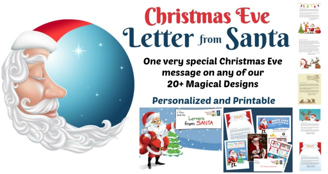 Our very special Christmas Eve Letter from Santa can be used with any of our 20+ Magical Design templates! Choose the one that fits your child and fill in the special details! Quicker than Magic Elf dust! It only takes a minute then Click and Print!!    Letters from Santa