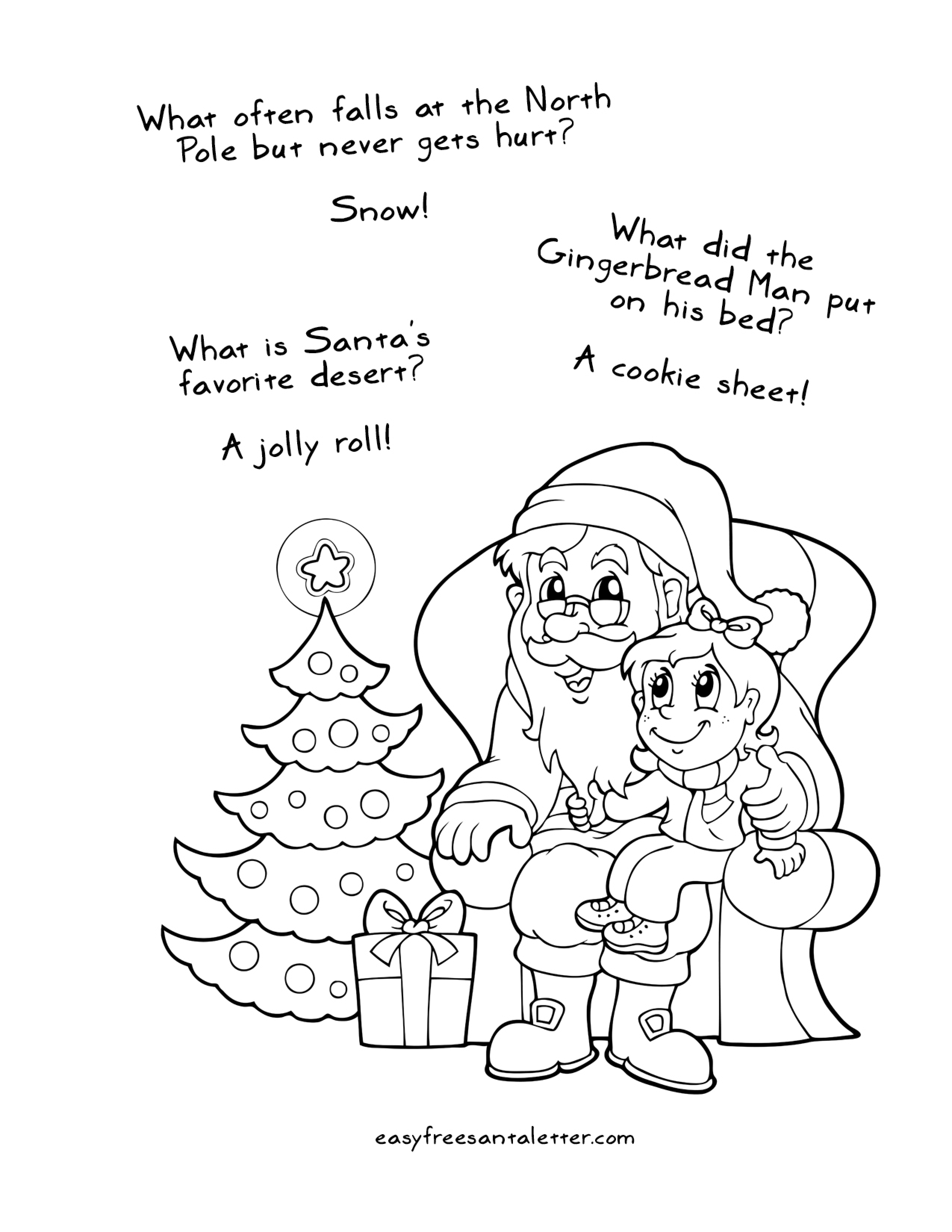 Free Printable Christmas Coloring Pages (with jokes