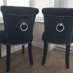 2 Chairs And Table Set Living Room Wicker Regal Glam Crushed Velvet Black Upholstered Dining Or Accent Chair With Chrome Knocker Pull ...