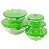 Set Of Five Glass Storage Serving Mixing Bowls Containers