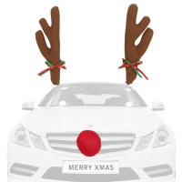 Novelty Christmas Reindeer Car Antlers & Red Nose Xmas