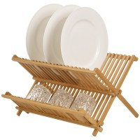 Bamboo Draining Rack Dish Drainer Plate Wooden Folding ...