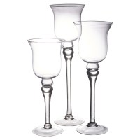 Set of 3 Tall Glass Candle Holders Large Centerpiece Tea ...