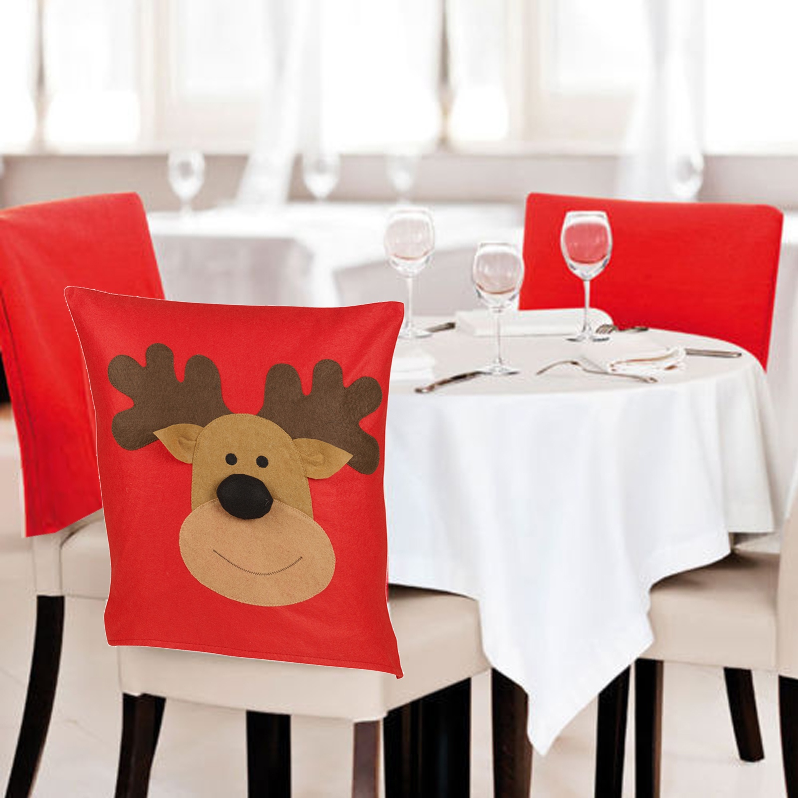 dining chair covers for christmas outdoor chairs sale 4 6 reindeer back party xmas