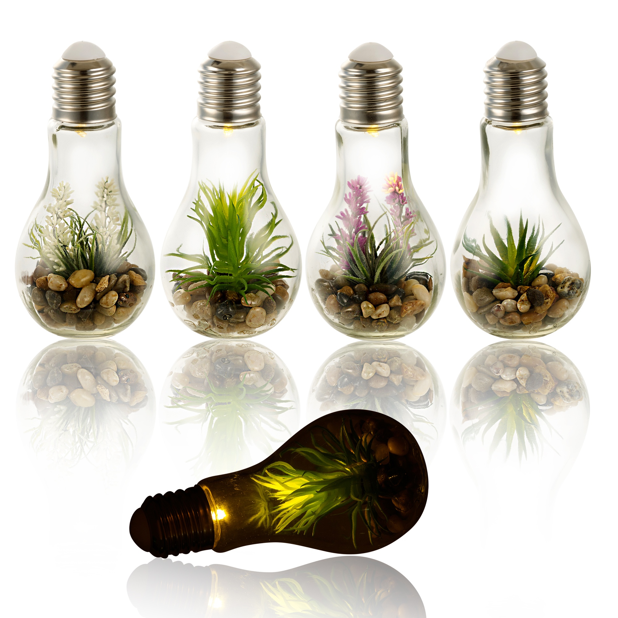Led Light Artificial Plant In Hanging Glass Bulb Pot Decor