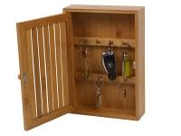Bamboo Wall Mounted Key Box & Brackets Cupboard Hooks ...