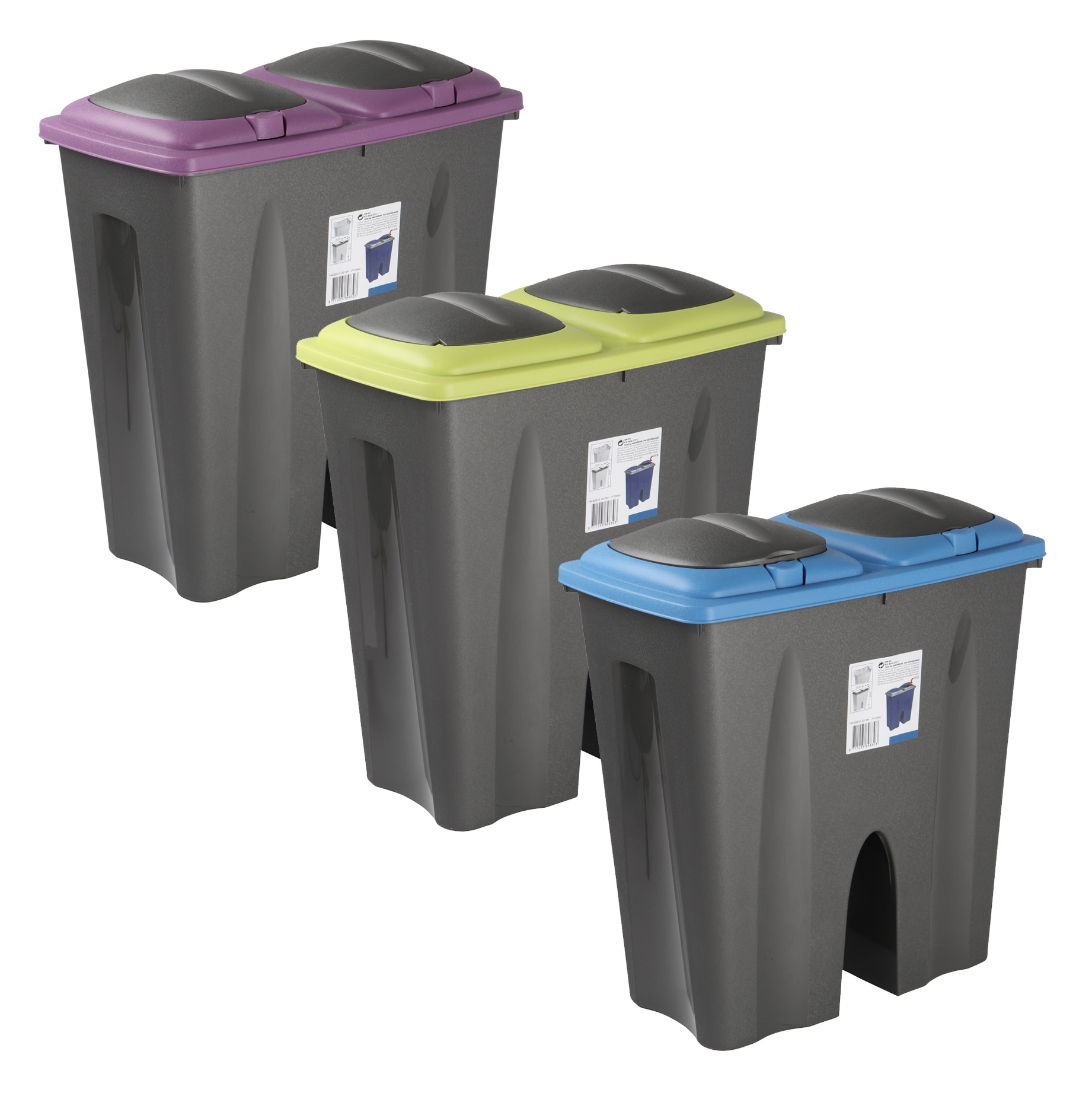 small recycling bins for kitchen kohler faucets double waste bin duo rubbish plastic cardboard