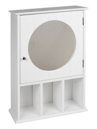 White Wooden Wall Mounted MDF Bathroom Mirror Cabinet ...
