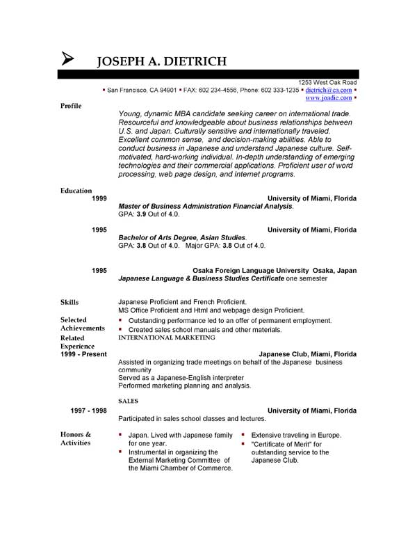 free student resume templates download