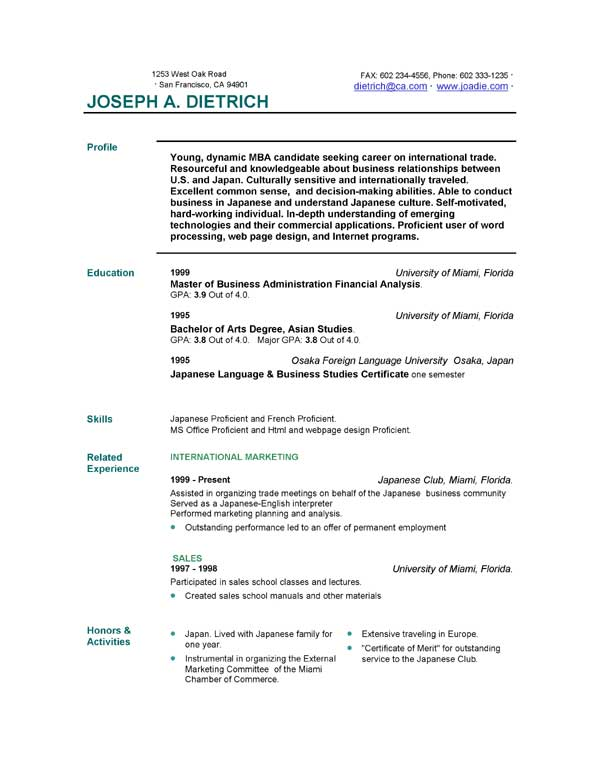 resume builder downloads free