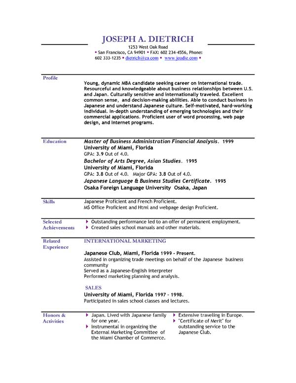 japanese resume sample pdf