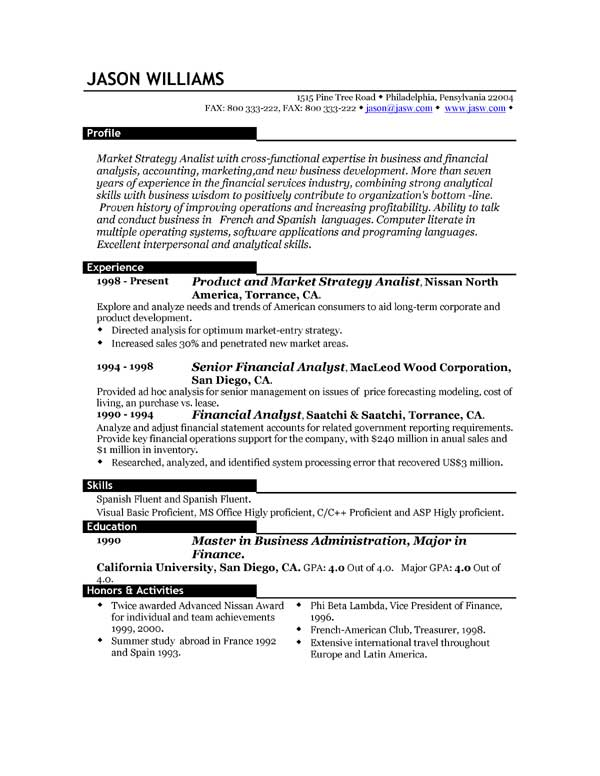 Best Example Of Resume Format Examples Of Resumes