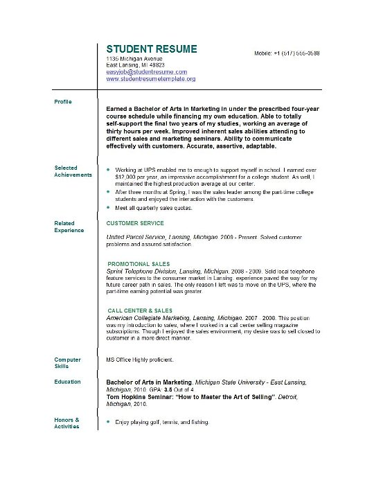 Student Resumes Simple Resume Examples For College Students