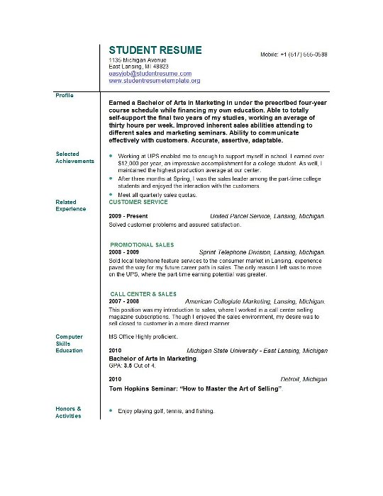 Student Resume Templates EasyJob