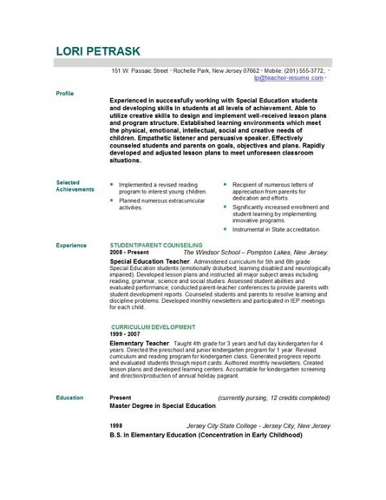 Writing Resume Preschool Teacher
