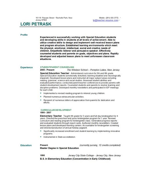 Kindergarten Teacher Resume Examples Sample Teacher Resumes