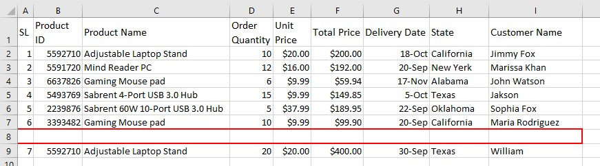 Blank row in Excel