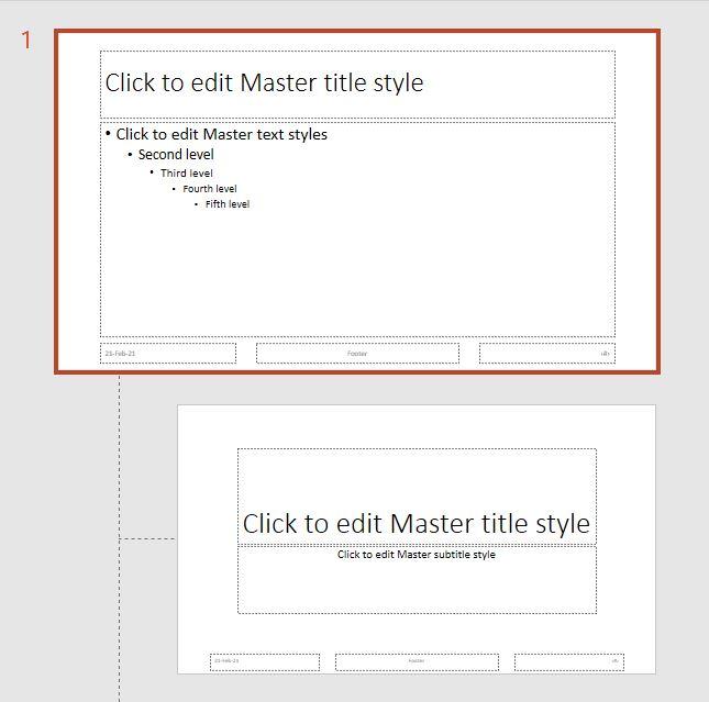Master slide thumbnails in PowerPoint