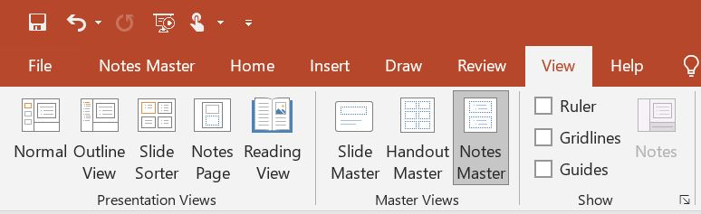 PowerPoint Notes Master
