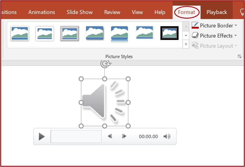 audio format tab on powerpoint