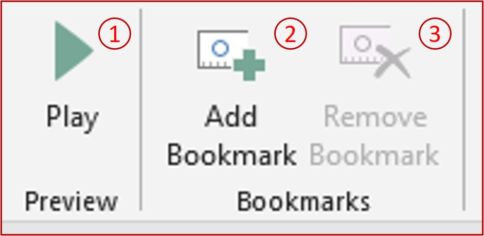 preview and bookmarks option on powerpoint