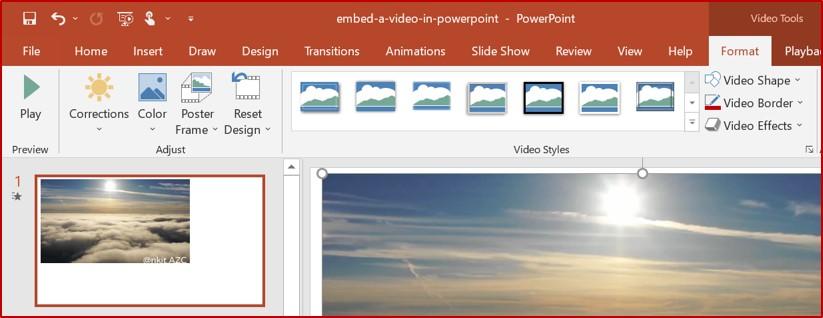 adjust powerpoint video