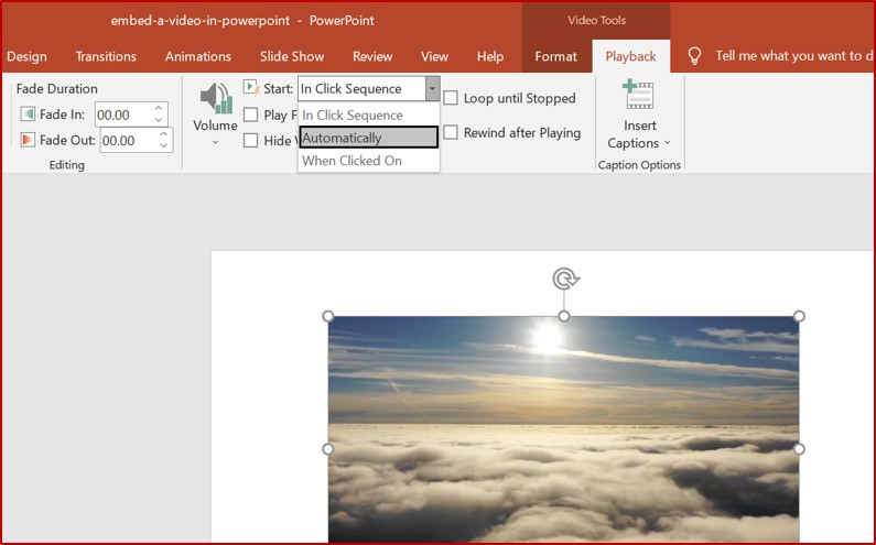 powerpoint videos playback options
