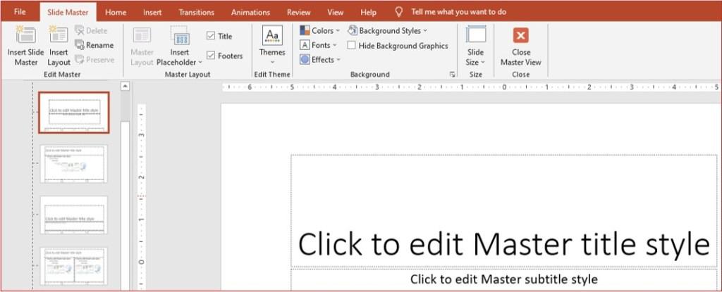 slide master tab