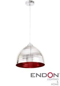 Endon 'Elektra' 1 Light Chrome Silver Ribbed Glass Pendant ...