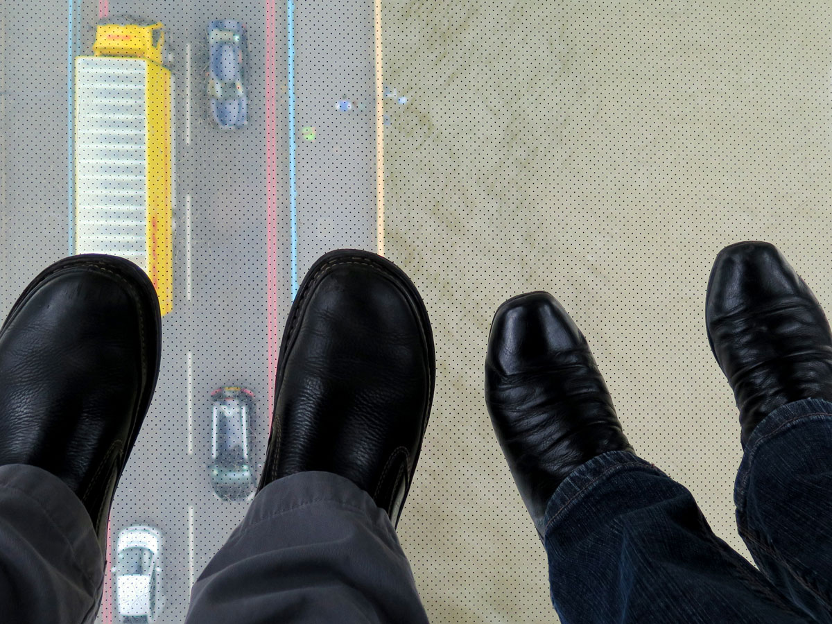 Stepping out over the Glass Walkway