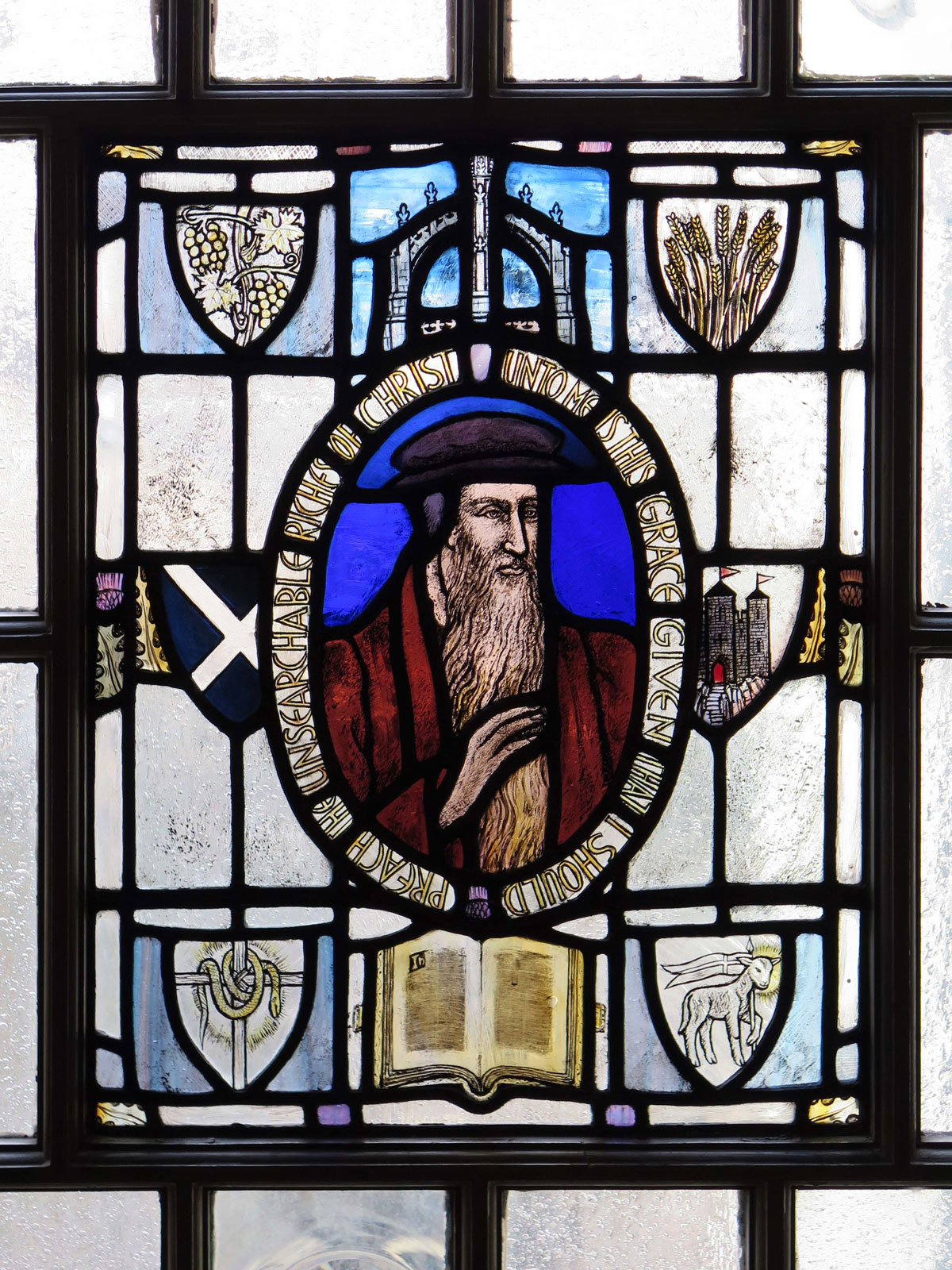 Stained glass window of John Knox