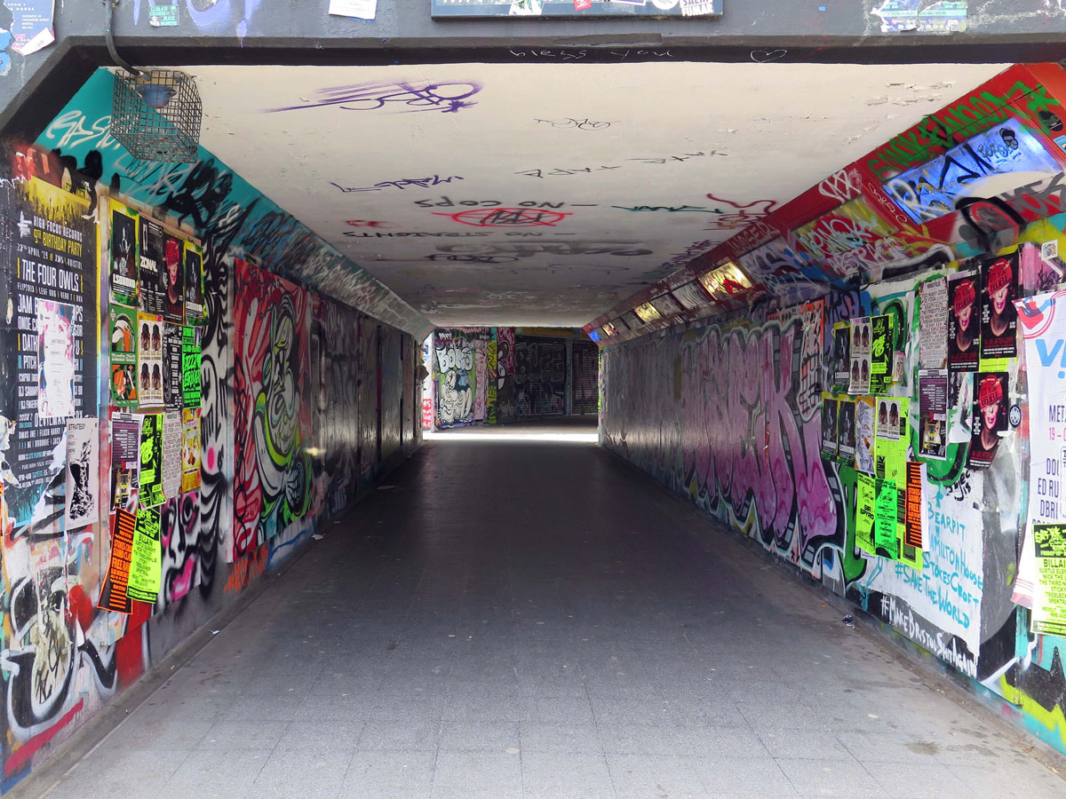 Walking through a subway to The Bearpit