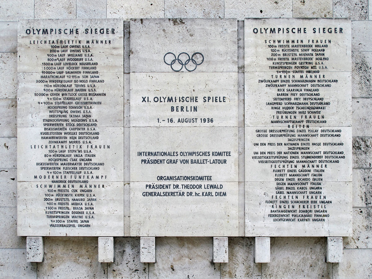 Medal Winner's Board with Jessie Owens' name at the top of the left hand column