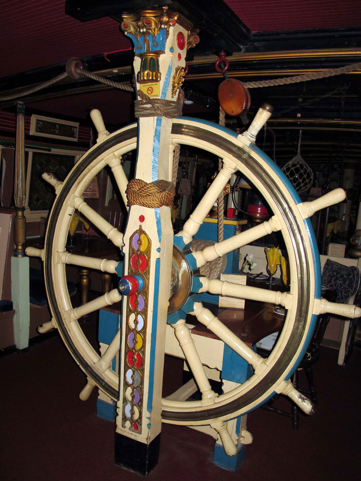 A Ship's Wheel inside the Benbow