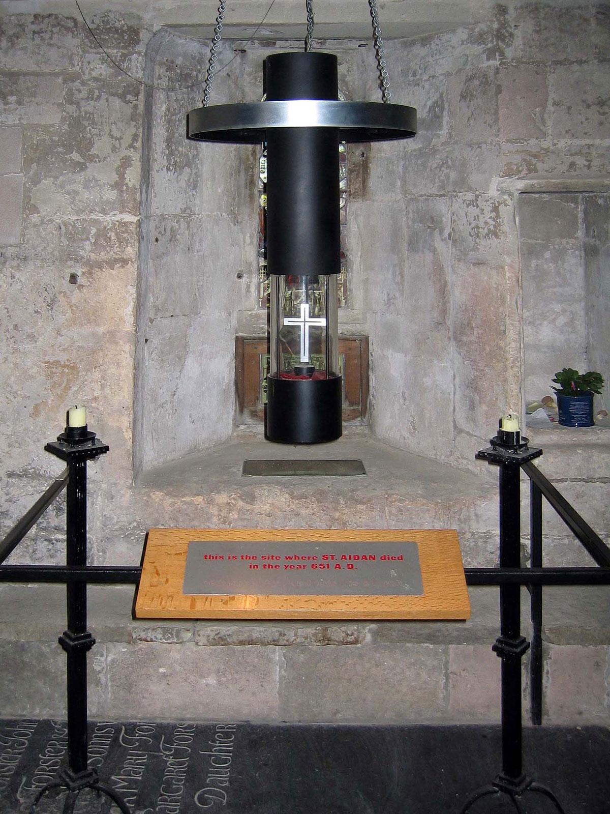 The spot where St. Aidan died