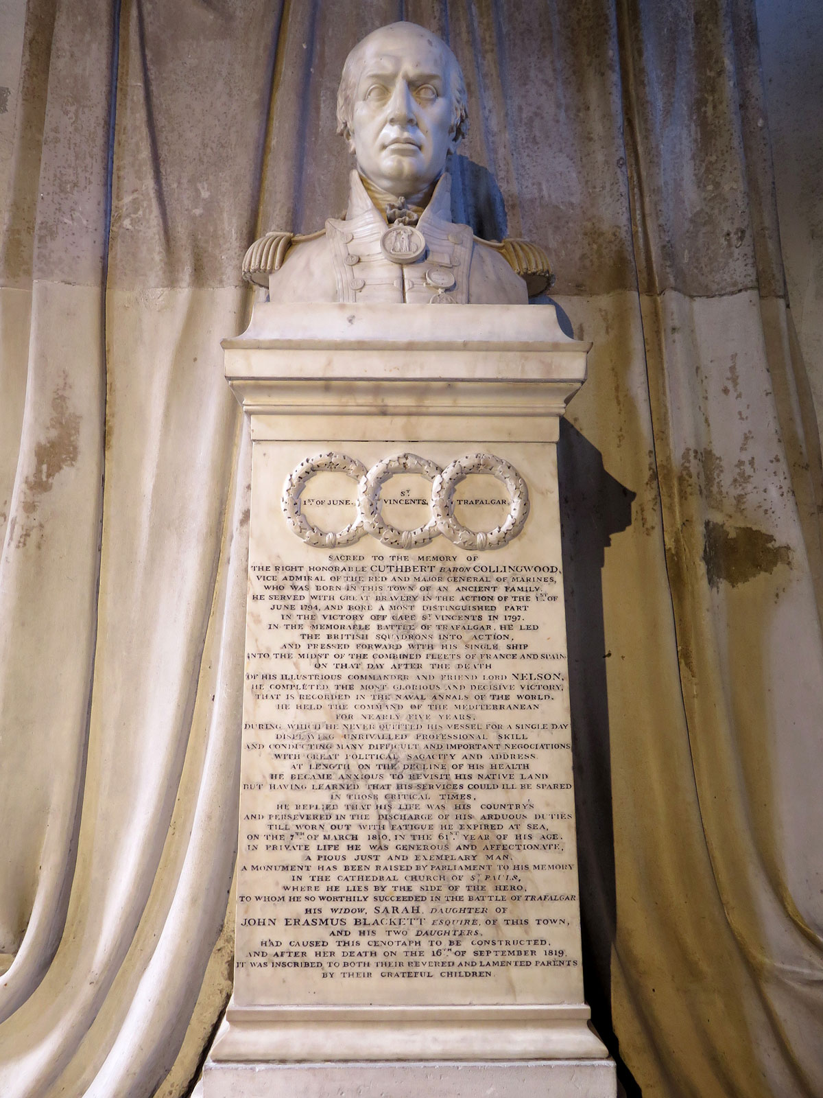 The Collingwood Memorial in St Nicholas Cathedral, Newcastle