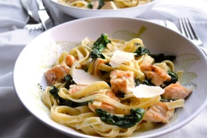 Fettuccine Alfredo with Spinach and Chicken