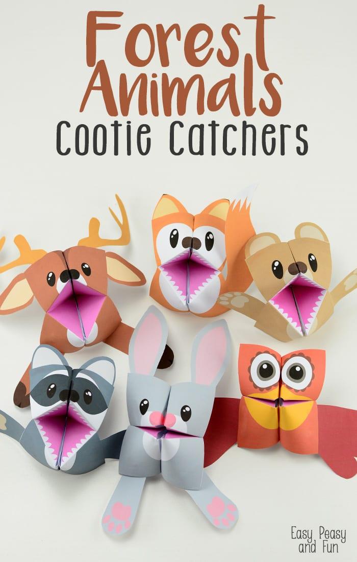 forest animals cootie catchers